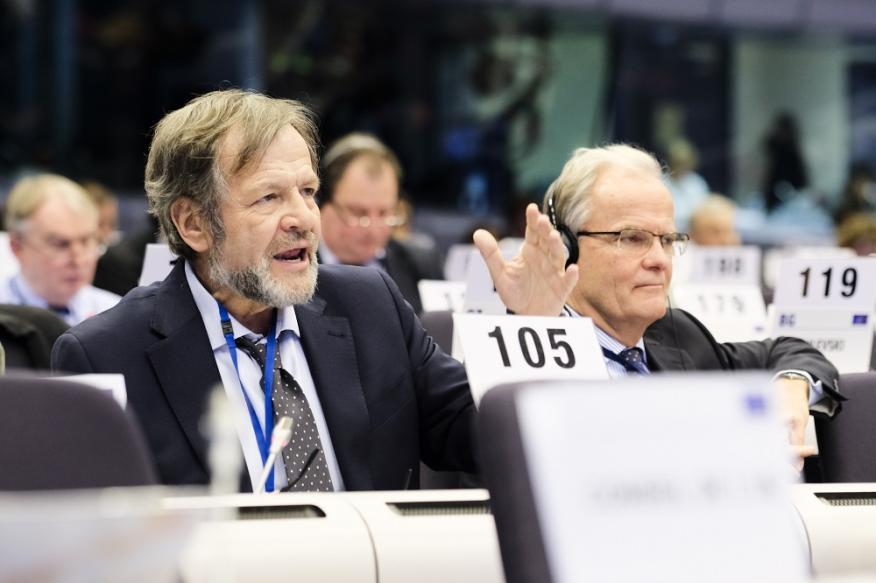 Javier Doz, consejero del CESE, durante una Sesión Plenaria del Comité