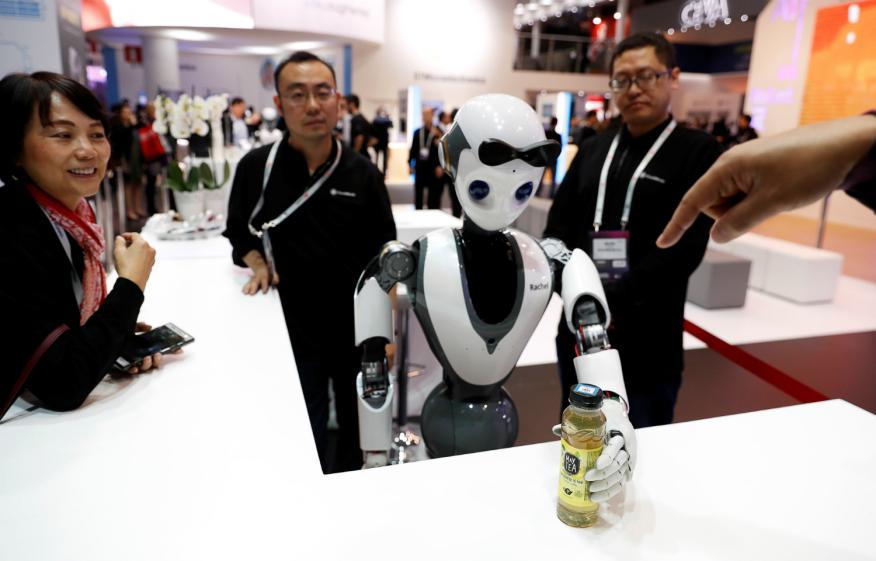 Un robot de Xiaomi en el MWC de Barcelona.