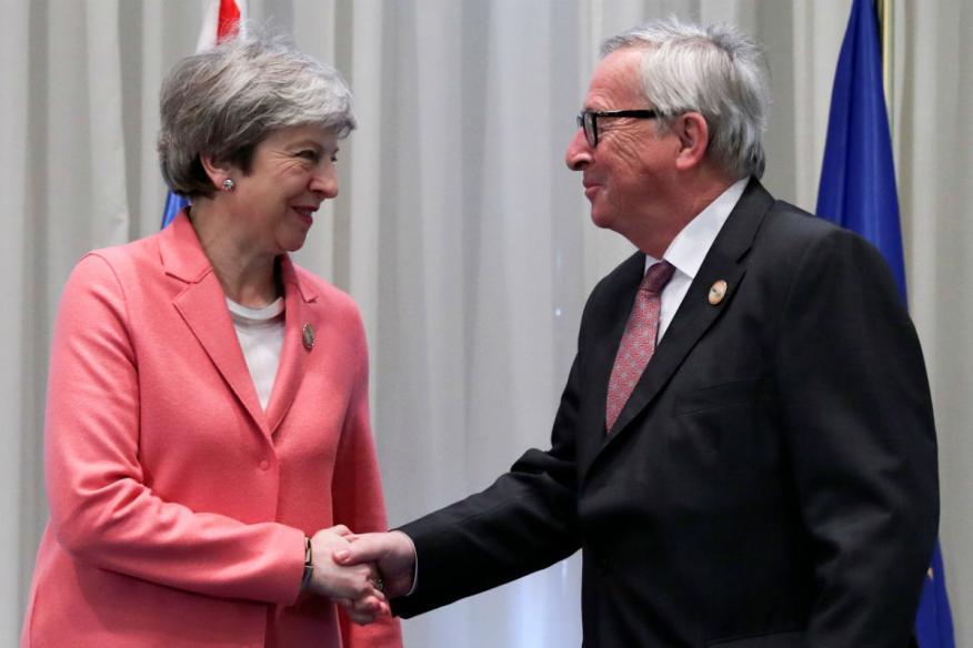 Theresa May y Jean-Claude Juncker, en febrero de 2019.