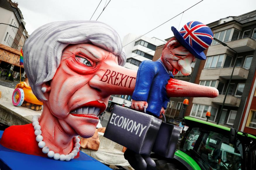 Una figura alegórica de Theresa May en el carnaval de Dusseldorf.