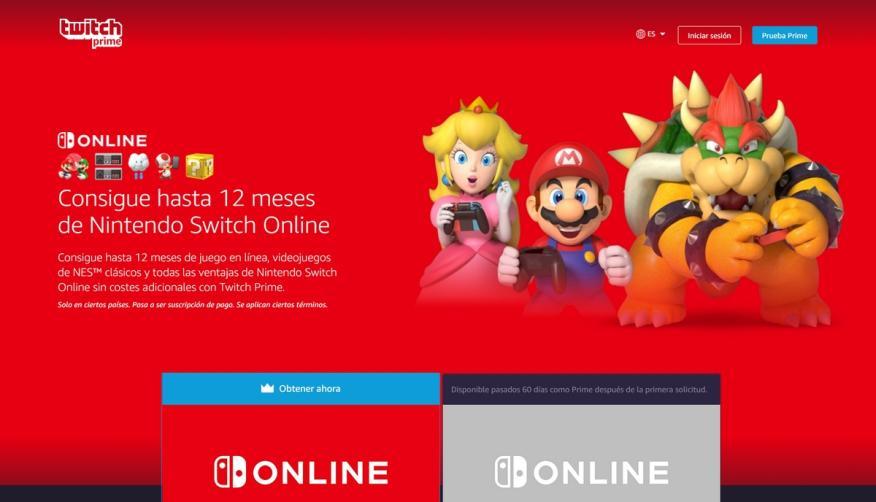 Twitch regala 12 meses de suscripción a Nintendo Switch Online, si eres de Amazon Prime