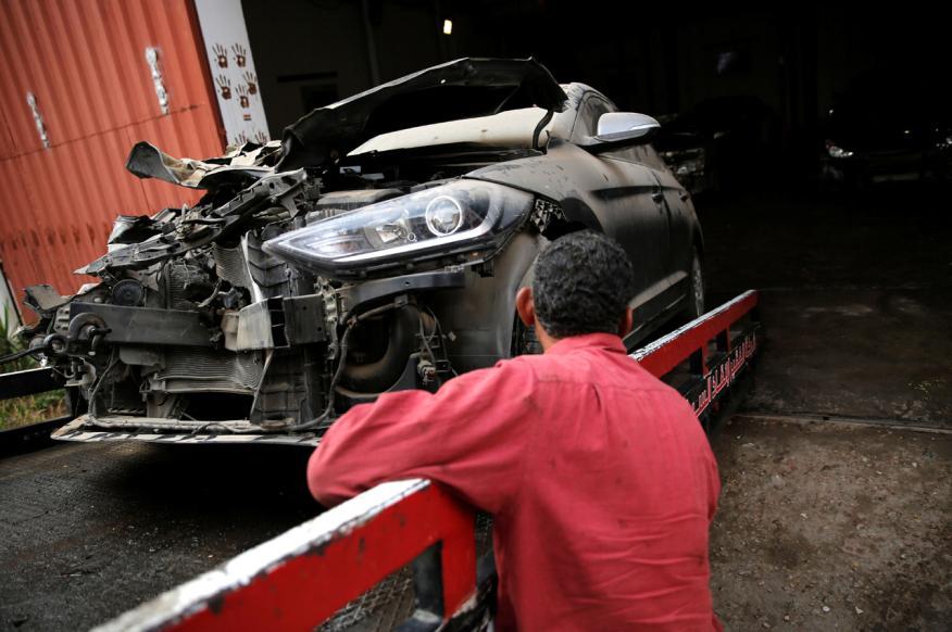 Un coche siniestrado en un accidente de tráfico