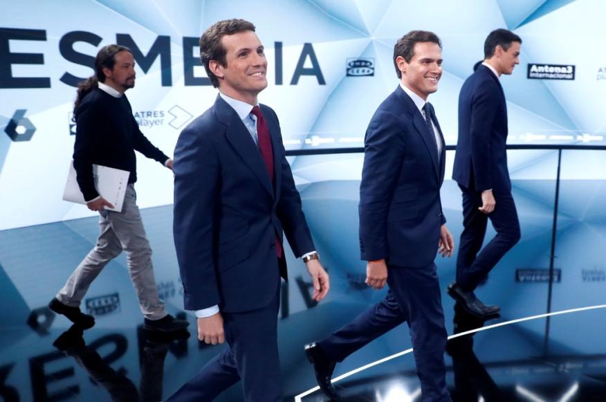 Los cuatro candidatos a la presidencia del Gobierno llegan al plató del segundo debate electoral.