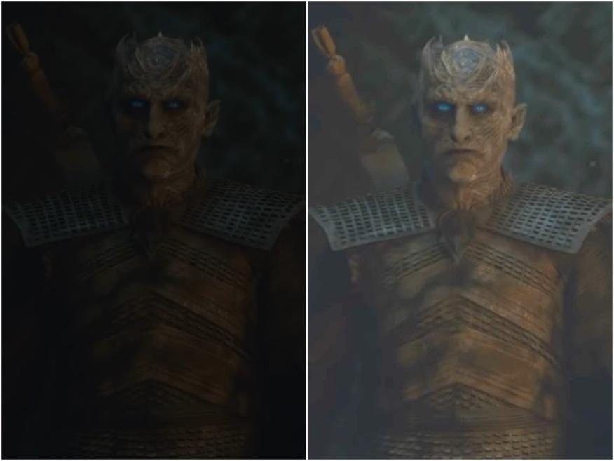 """Captura de pantalla de una escena de """"Juego de tronos"""" y la versión mejorada de INSIDER."""