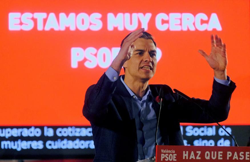 Pedro Sánchez en un mitin en la campaña electoral de las elecciones generales de 2019.