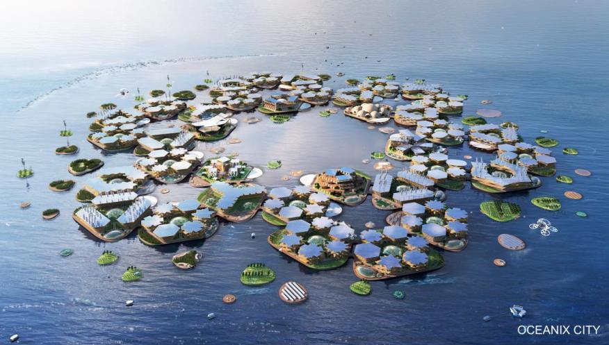 A rendering of Oceanix City.