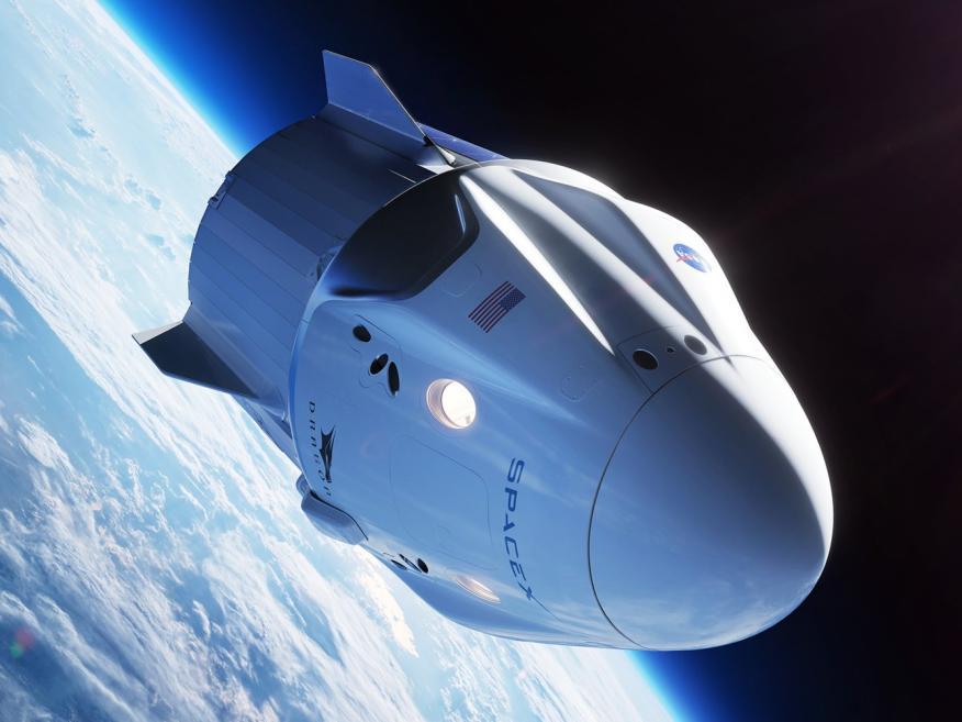 Una ilustración del Space X Crew Dragon.