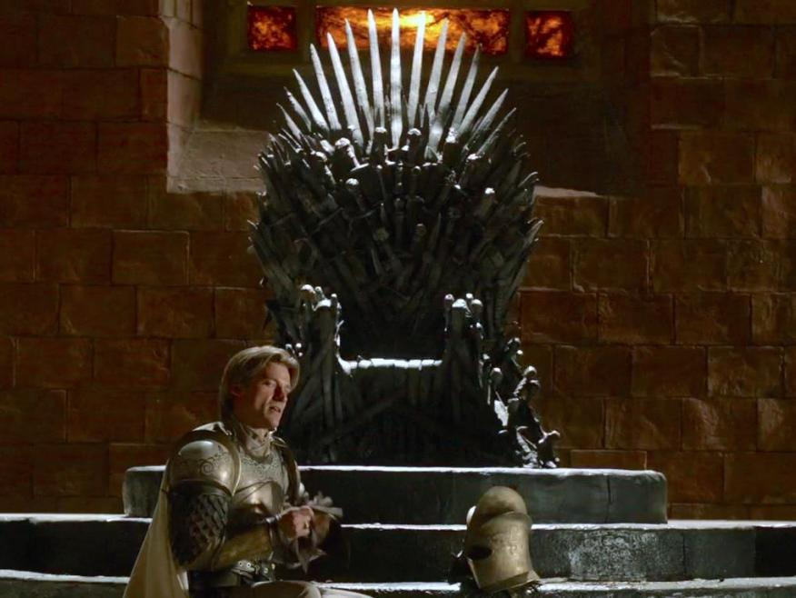 Jaime Lannister with the Iron Throne on an earlier season.