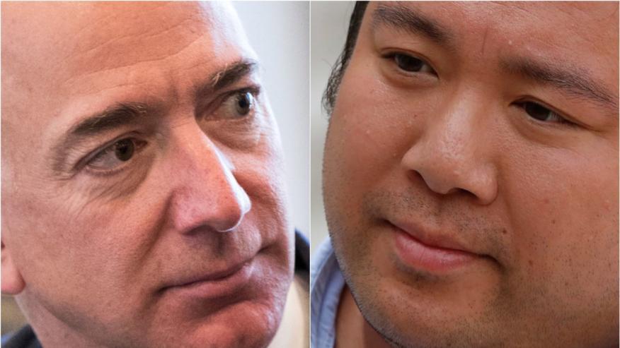 El CEO de Amazon, Jeff Bezos, y el fundador de Deliveroo, Will Shu.