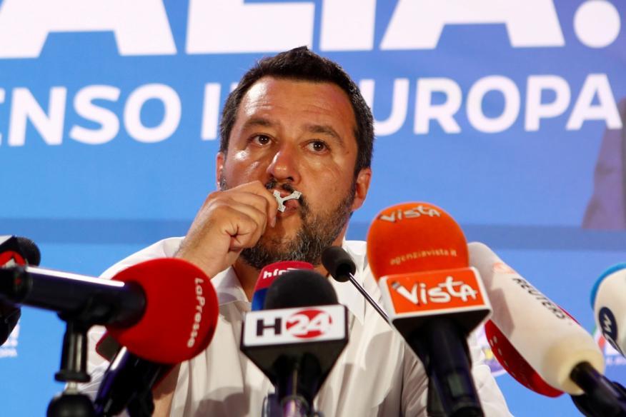 El líder de La Liga, Matteo Salvini, tras las elecciones europeas.