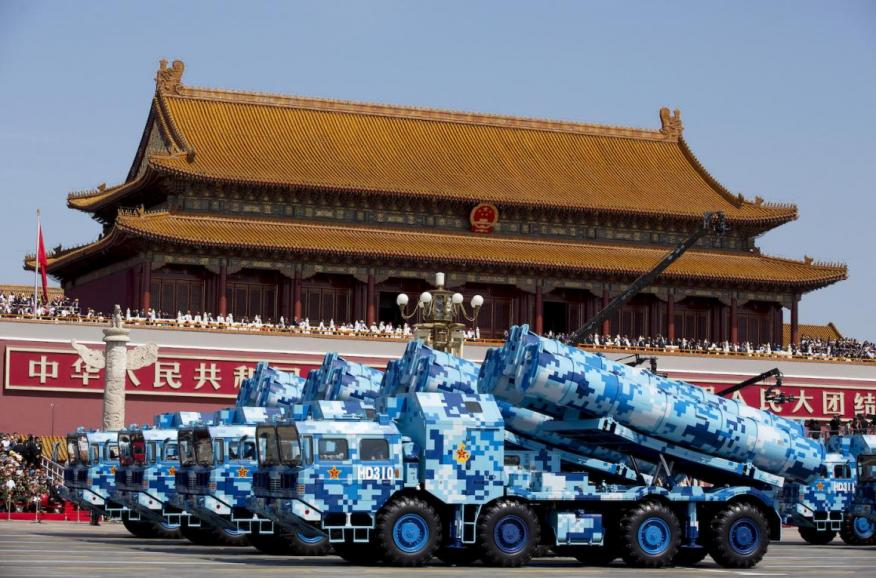 Military vehicles with DF-10 ship-launched cruise missiles pass Tiananmen Gate during a military parade to commemorate the 70th anniversary of the end of World War II in Beijing, September 3, 2015.