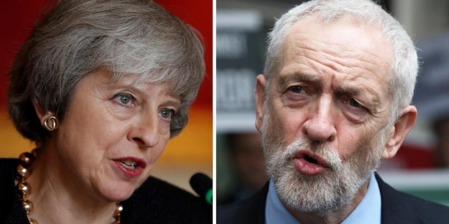 Theresa May y Jeremy Corbyn.