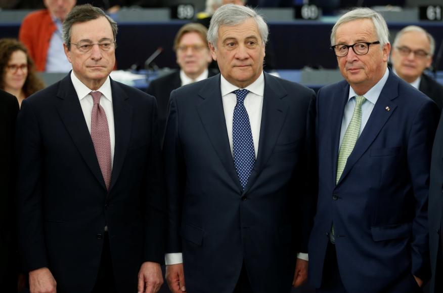 Los actuales presidentes del BCE, Mario Draghi, de la Eurocámara, Antonio Tajani, y de la Comisión, Jean-Claude Juncker