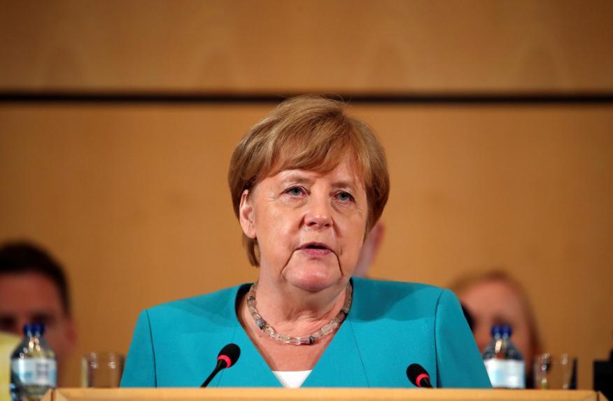 La canciller alemana, Angela Merkel, en una conferencia de la Organización Internacional del Trabajo en Ginebra, Suiza.