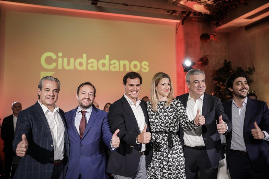 Marcos de Quinto junto a Albert Rivera y otros altos cargos de Ciudadanos.