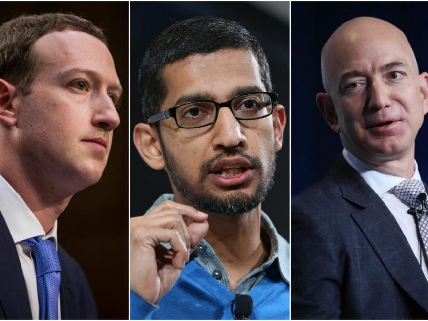 Mark Zuckerberg, Sundar Pichai y Jeff Bezos, los CEO de Facebook, Google y Amazon