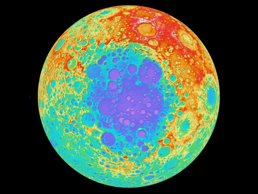 The mysterious lunar lump exists below the surface of the lunar South Pole-Aitken Basin (in blues and purples).
