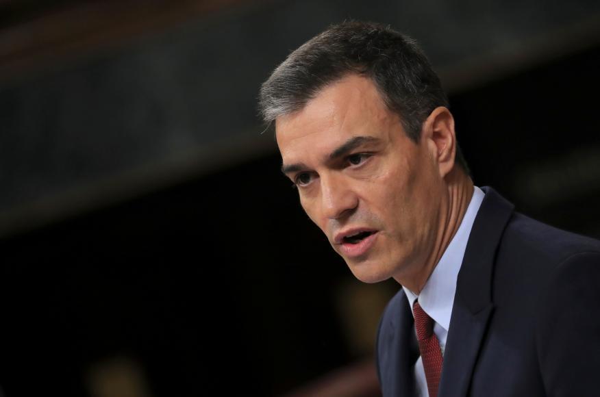 El presidente del Gobierno en funciones, Pedro Sánchez,este lunes en el Congreso de los Diputados.