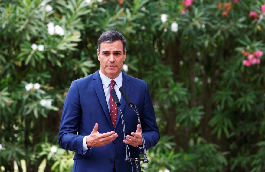 El presidente del Gobierno en funciones, Pedro Sánchez, en el palacio de Marivent (Palma de Mallorca).