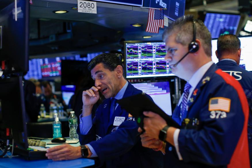 Traders en Wall Street operando
