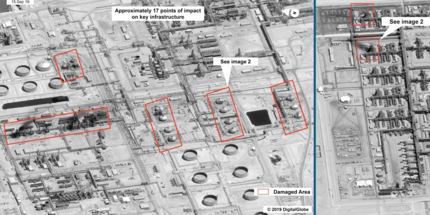 Una imagen compuesta de dos fotografías satelitales que muestran áreas de instalaciones petroleras sauditas en Abqaiq y Khurais.