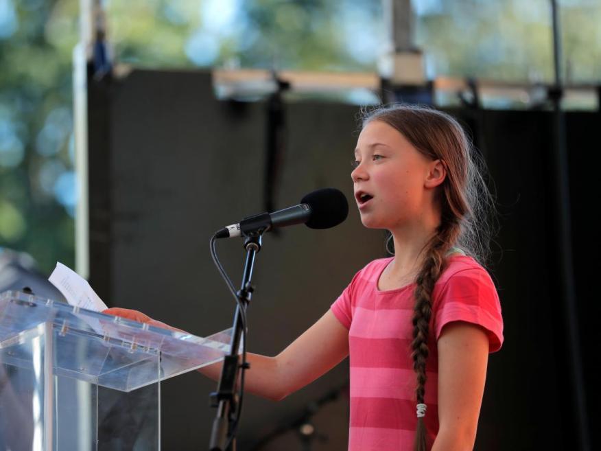 Greta Thunberg da un discurso en la manifestación por el clima del 20 de septiembre de 2019 en Nueva York.