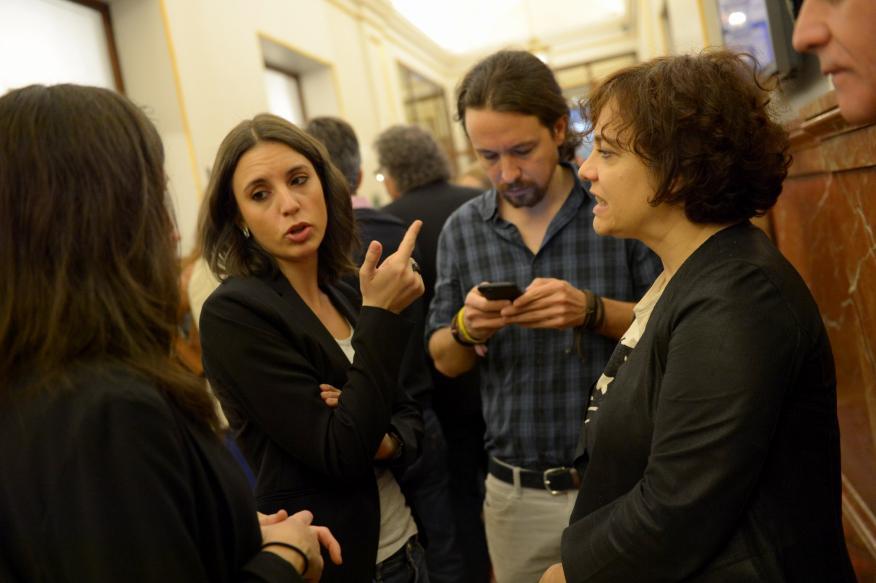 Pablo Iglesias y parte de su equipo en una sesión parlamentaria de 2017.
