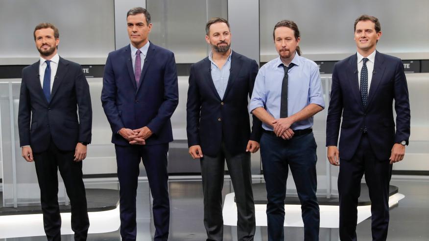 Pablo Casado, Pedro Sánchez, Santiago Abascal, Pablo Iglesias y Albert Rivera, antes del debate electoral a cinco.