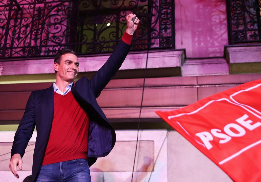 Pedro Sánchez festeja los resultados del 10-N.