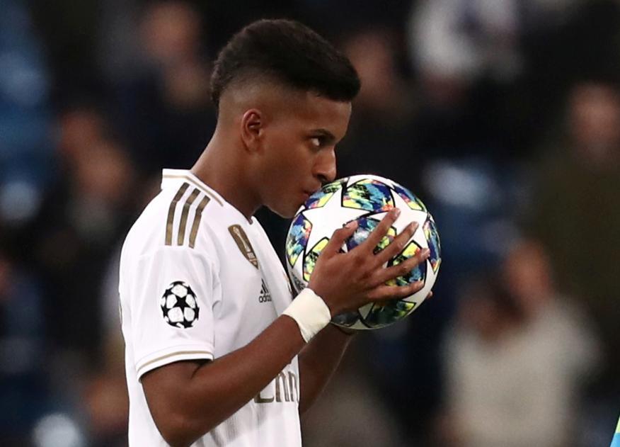 Rodrygo, durante un partido de la Champions League con el Real Madrid.
