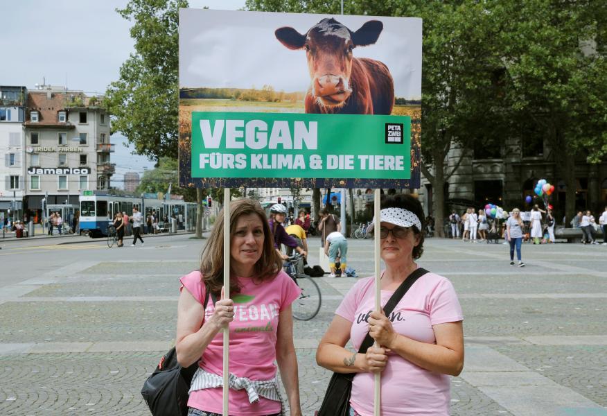 vegano, manifestantes a favor dieta vegana