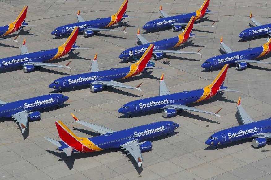 Varios aviones Boeing 737 Max de la compañía Southwest Airlines varados en el aeropuerto de Victorville en California