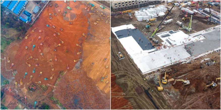 Imágenes de antes y después de los trabajos de construcción del Hospital de Huoshenshan en Wuhan, China.