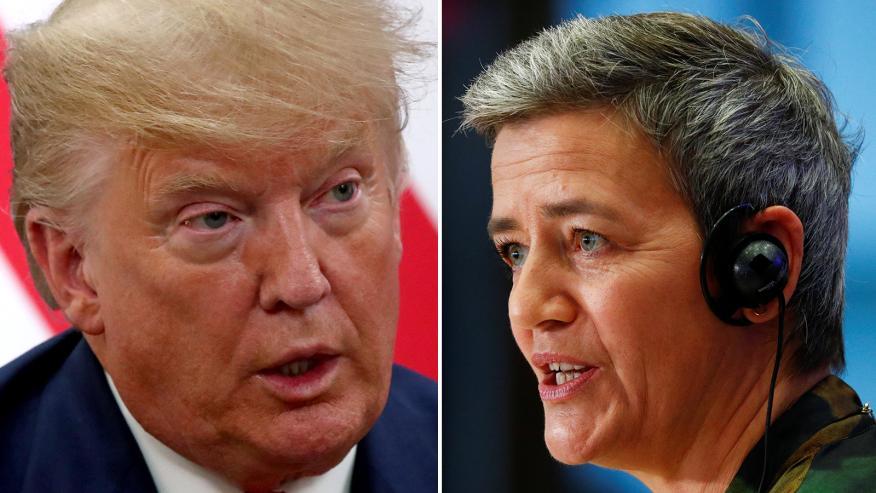 Donald Trump, presidente de los Estados Unidos, y Margrethe Vestager, vicepresidenta de la Comisión Europea y comisaria de Competencia.