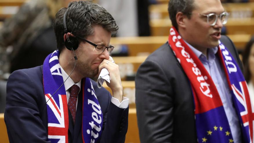 Varios eurodiputados reaccionan a la votación que certifica el acuerdo de salida de Reino Unido de la UE.