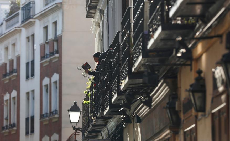 Un balcón de Madrid durante la pandemia del coronavirus