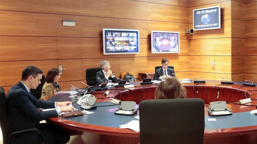 Primer Consejo de Ministros virtual de la historia, según Moncloa.