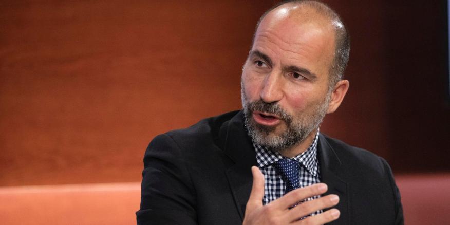 El CEO de Uber, Dara Khosrowshahi, en el evento Bloomberg Global Business Forum en Nueva York.