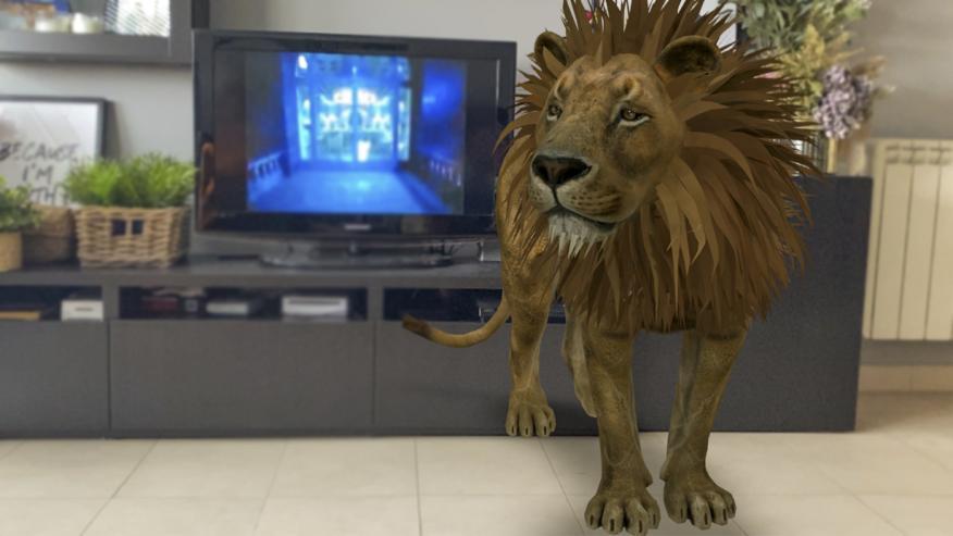 León en casa a través de Animales 3D de Google