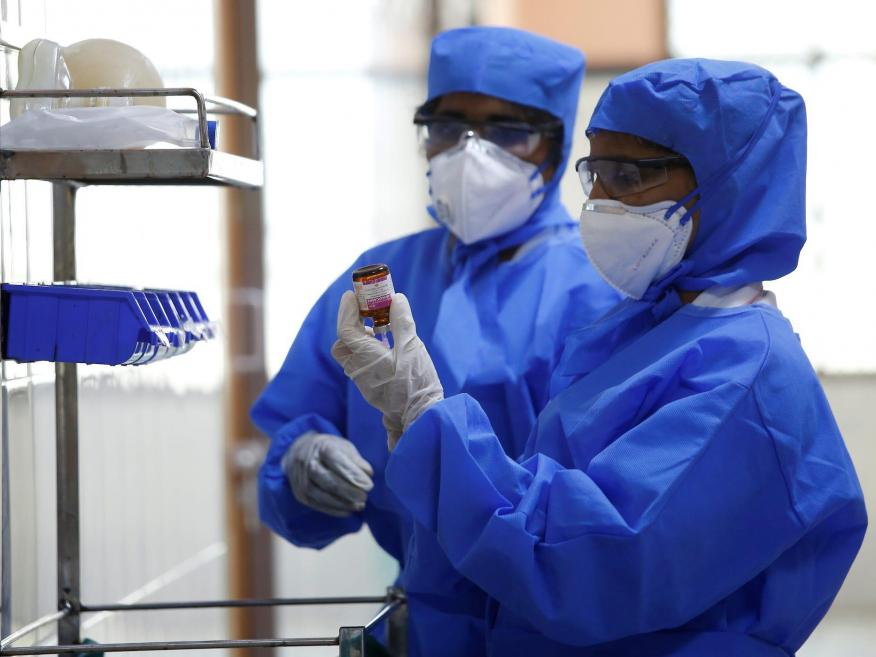 Medical staff with protective clothing in a ward for people suspected of having the new coronavirus at a hospital in Chennai, India, on January 29.
