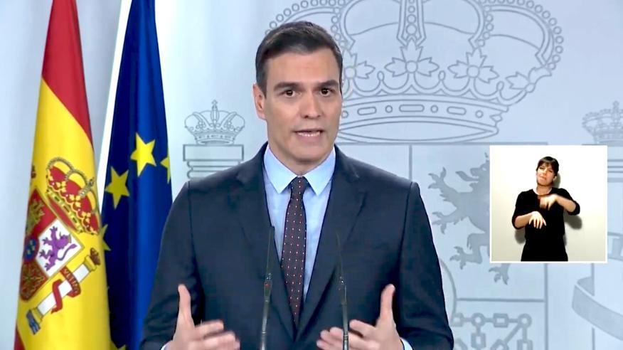 Pedro Sánchez, presidente del Gobierno durante una comparececia.