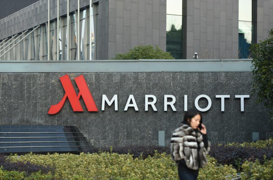 La entrada de un hotel Marriott en China