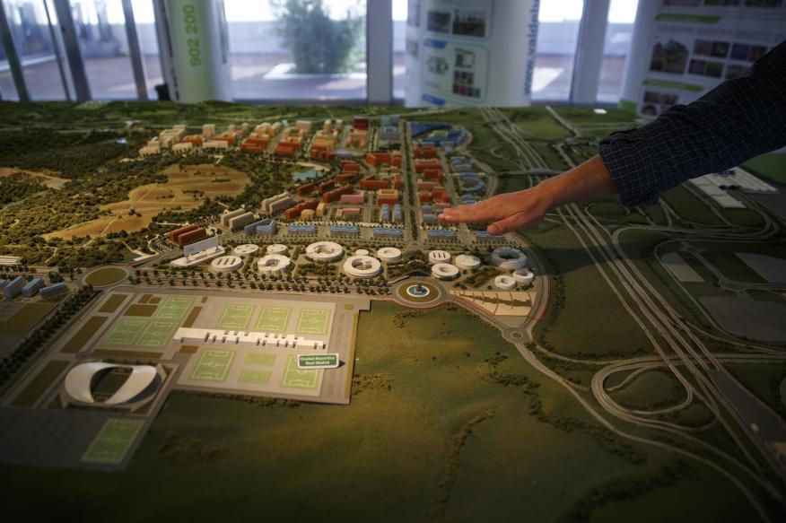 Una maqueta de una urbanización en Valdebebas