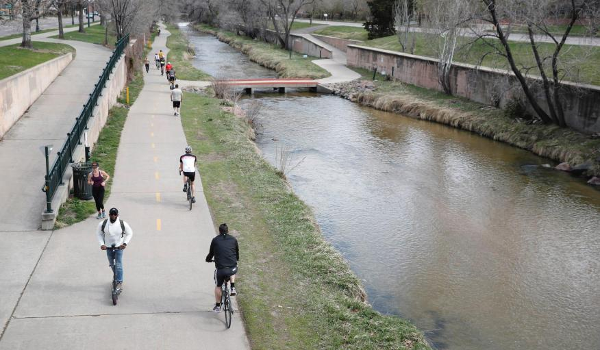 The path along Cherry Creek in Denver, Colorado as a statewide stay-at-home order remains in effect, Saturday, April 4, 2020.