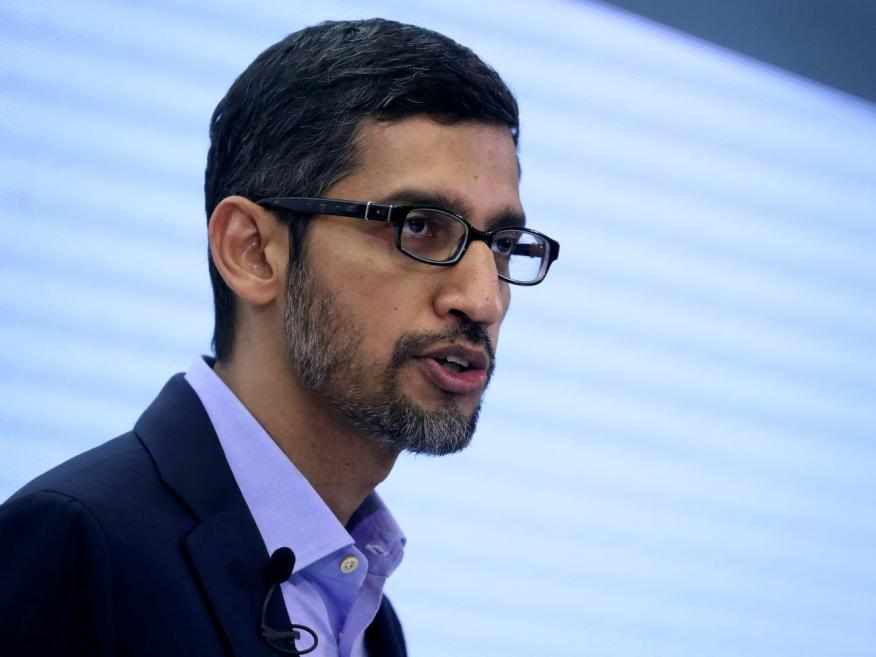 Sundar Pichai, CEO de Google y Alphabet, habla sobre inteligencia artificial durante una conferencia de expertos de Bruegel en Bruselas, Bélgica, el 20 de enero de 2020.