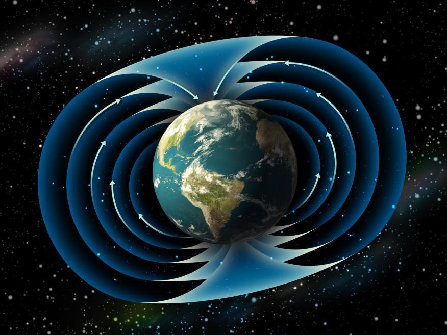 Una representación del campo magnético de la Tierra.