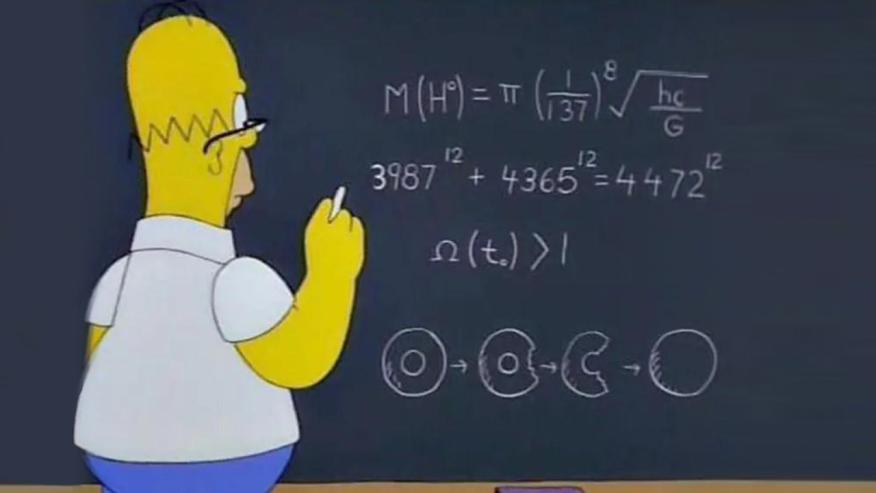 Homero Simpson haciendo un problema matemático
