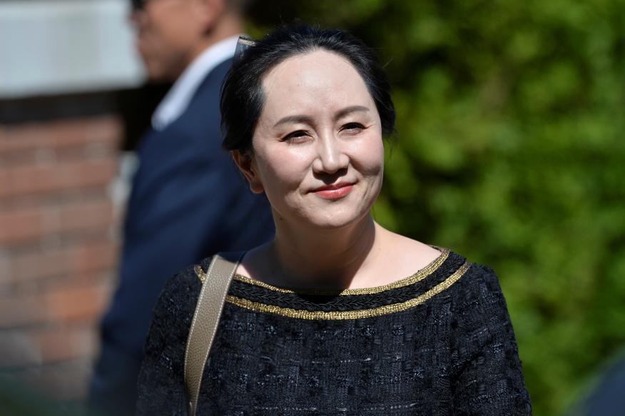 Meng Wanzhou, a la salida del juzgado de Canadá.
