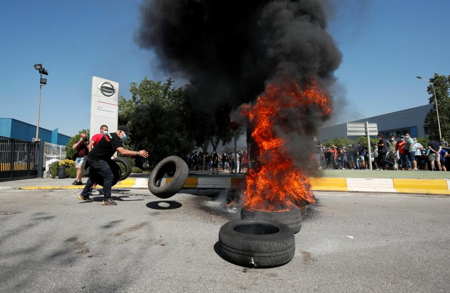 Protestas por el cierre de Nissan en Barcelona.