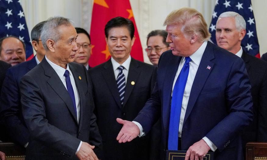El vice primer ministro chino, Liu He, y el presidente de EEUU, Donald Trump